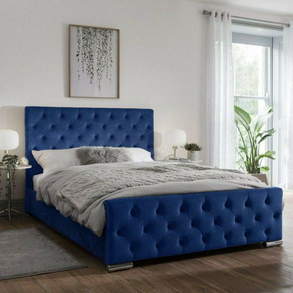 Traffalger Bed King Plush Velvet Blue - King Size