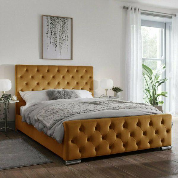 Traffalger Bed Double Plush Velvet Mustard - Double