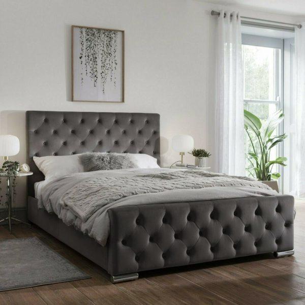 Traffalger Bed Double Plush Velvet Steel - Double