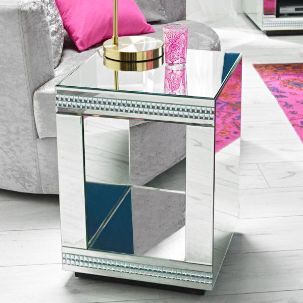 Biarritz Cube Mirrored Lamp Table