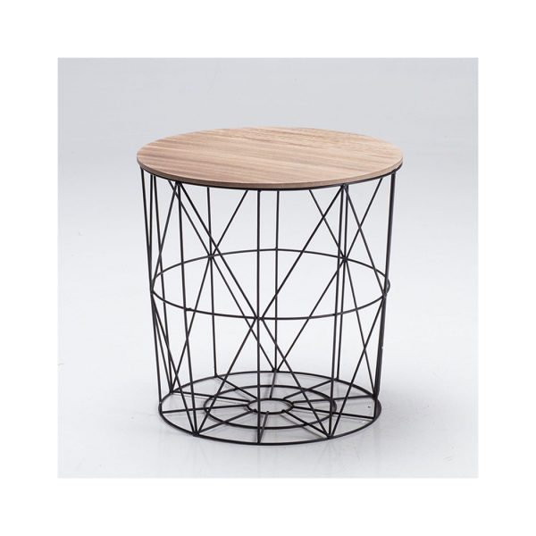 Cosmo Cage Table Black With Oak Finish Top