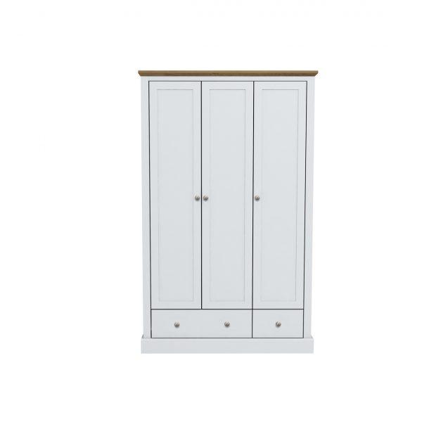 Devon 3 Door 2 Drawer Wardrobe White