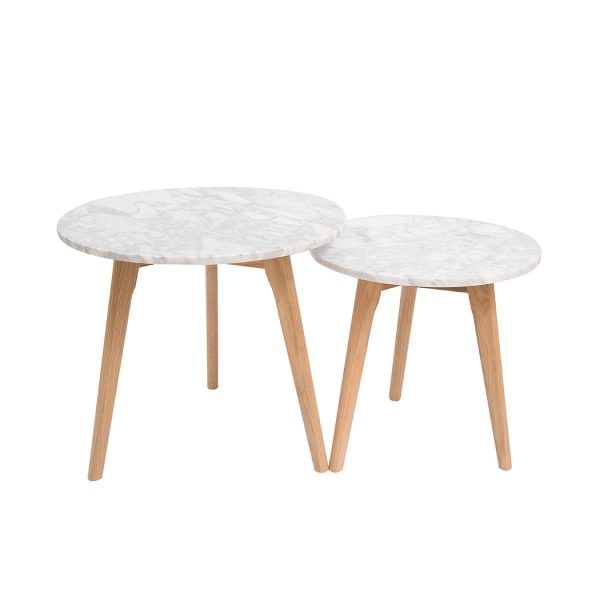 Harlow Round Nest Of Tables Oak-White Marble Top