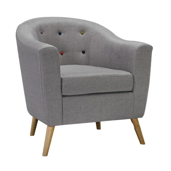 Hudson Chair With Buttons Grey