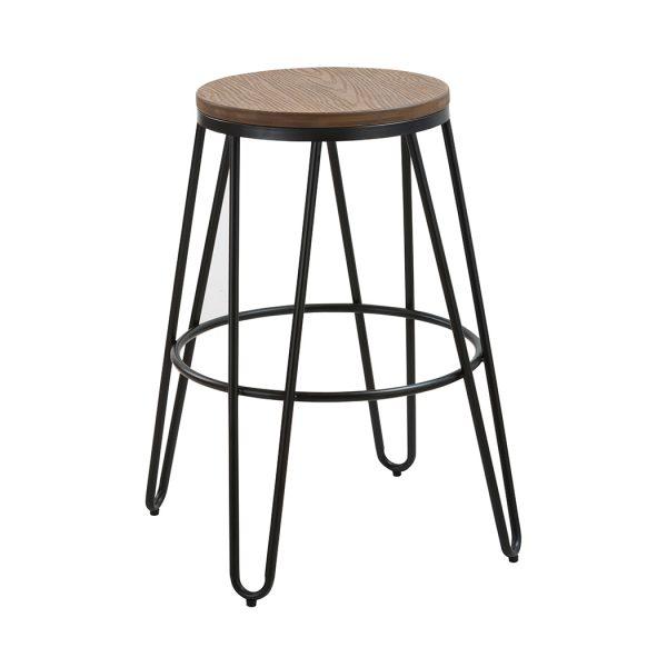 Ikon Wood Seat With Black Metal Hairpin Legs Bar Stool