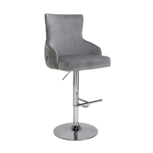 Cairo Brushed Velvet Grey Bar Stool