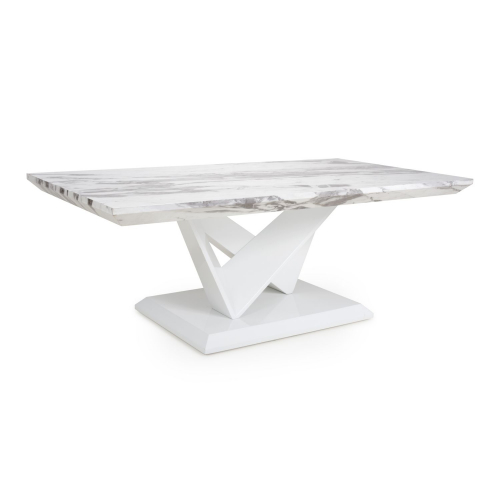 Saturn Marble Effect Top High Gloss Grey/White Coffee Table