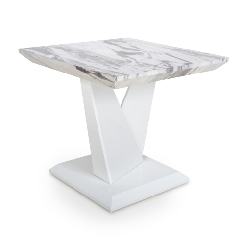 Saturn Marble Effect Top High Gloss Grey/White Lamp Table