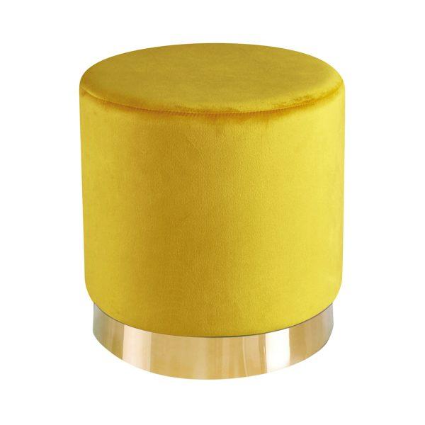 Lara Pouffe Ochre Yellow Velvet (Pack of 1)