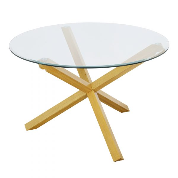 Oporto Plus Dining Table Oak With Glass Top
