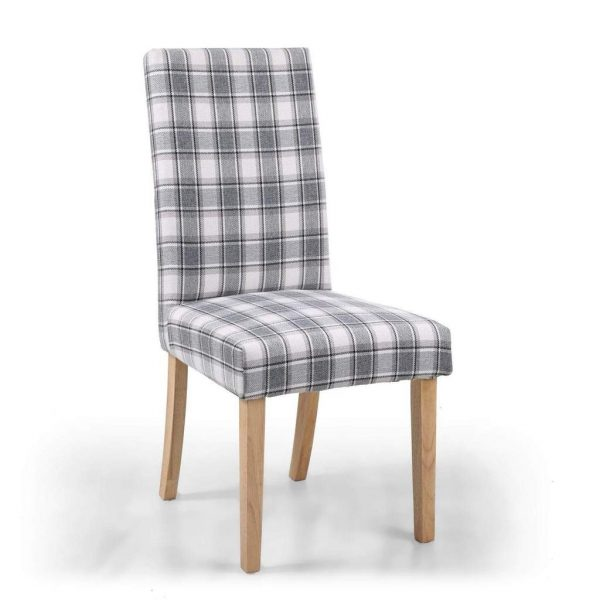 Ridley Herringbone Check Cappuccino Dining Chair in Natural Legs