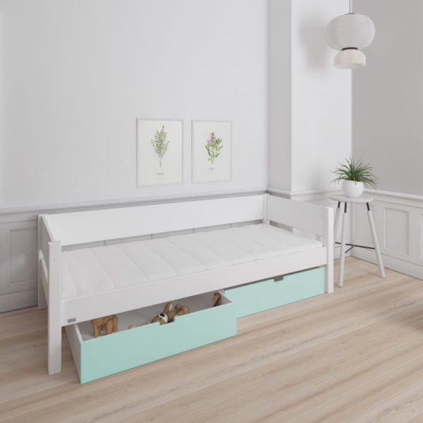 Manis-h White Day Bed and 2 drawers in Azur mint