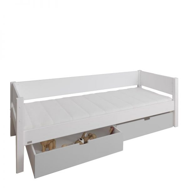Manis-h White Day Bed and 2 drawers in Silver grey