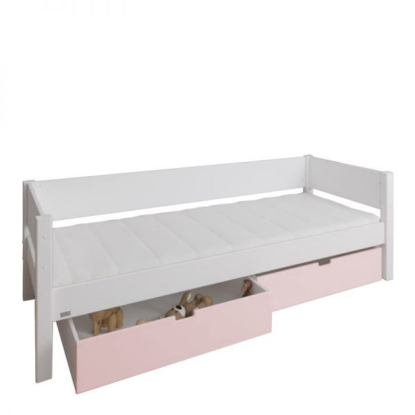 Manis-h White Day Bed and 2 drawers in Light Rose