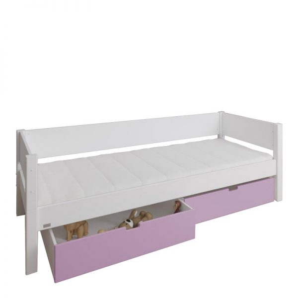Manis-h White Day Bed and 2 drawers in Dusty Rose