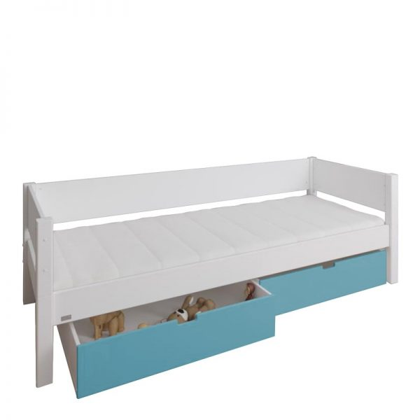 Manis-h White Day Bed and 2 drawers in Petroleum