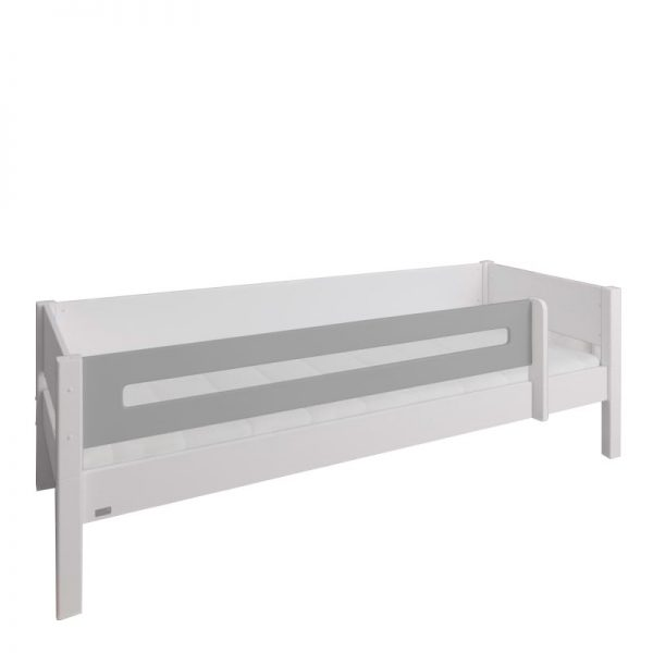 Manis-h White Day Bed with Safety Rail in Silver Grey