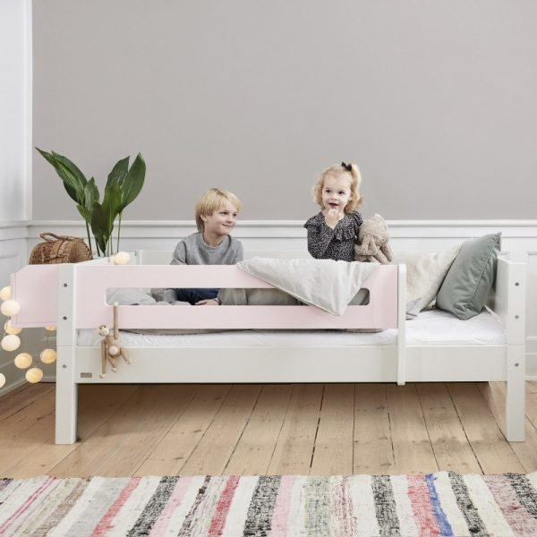 Manis-h White Day Bed with Safety Rail in Light Rose