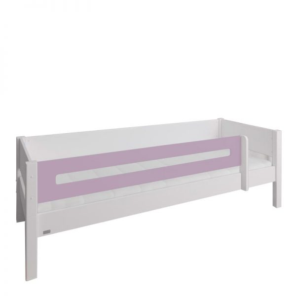 Manis-h White Day Bed with Safety Rail in Dusty Rose