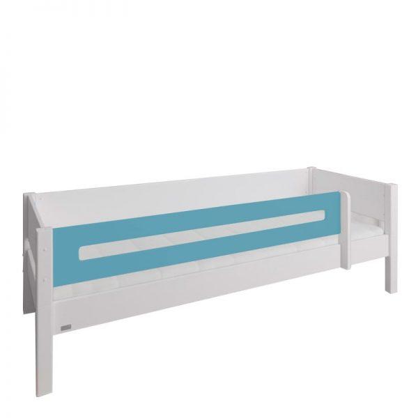 Manis-h White Day Bed with Safety Rail in Petroleum