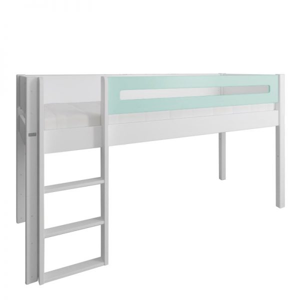 Manis-h White Mid Sleeper Bed with Safety Rail in Azur Mint