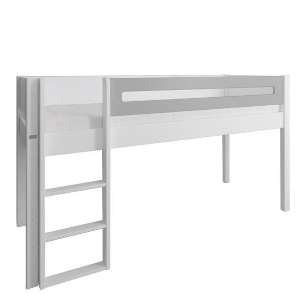 Manis-h White Mid Sleeper Bed with Safety Rail in Silver Grey