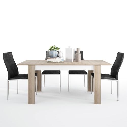 Lyon Dining set package Lyon Medium extending dining table 140/180 cm + 4 Milan High Back Chair Black.
