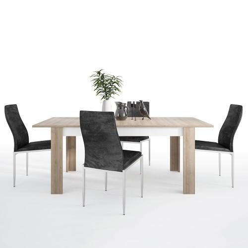 Lyon Dining set package Lyon Large extending dining table 160/200 cm + 4 Milan High Back Chair Black.